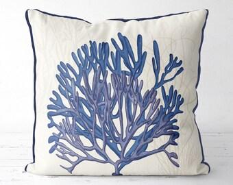 Nautical Decor -Blue Coral & seaweed on Cream Pillow Cover - nautical gift sea life decor ocean decor seaside decor blue coral pillow