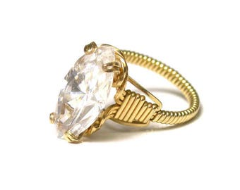 Gold Tone CZ Wire Ring - Large Marquee Cubic Zirconia - Size 5.5 - Mock Diamond Ring # 1083
