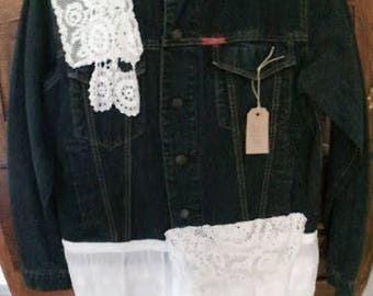 Upstyled  denim with vintage lace