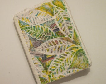 Upcycled Leafy Green Mixed Media Writer's Personal Journal