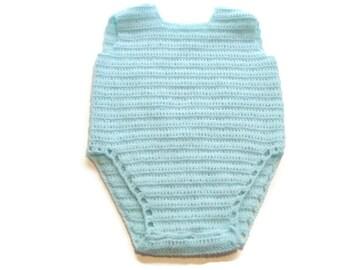 Crochet Aqua Baby Romper Newborn, Preemie Reborn doll Handmade 0-3 Month Size