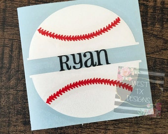 Baseball Decal | Personalized Baseball Decal | Car Decal | Vinyl Decal | Split Baseball | Water bottle Decal | Sports Decal