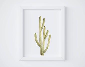 Smooth Cactus No 2 Art Print - Large Saguaro Cactus - cactus watercolor - cacti painting - southwestern - greenery - cacti art - southwest