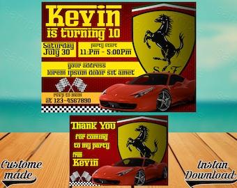 Ferrari invitation Etsy