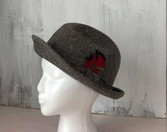 Vintage Hat Fedora Hat Red Feather Accent Retro Hat Wool Hat Tweed Hat Retro Fedora Mens Hat Swinger Hat Hipster Hat Gray Fedora Hat