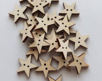 Laser Cut Wooden Star Button Cut Outs ( Embellishments, Sewing, Decoupage )
