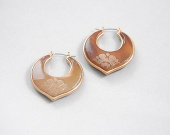 Toffee stone earrings | floral hoop earrings | vintage hoop earrings