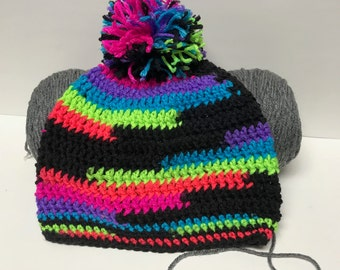 Beanie - Crochet - Neon Stripes