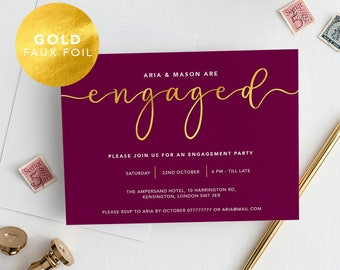 Printable Modern Engagement Party Invitation Plum Gold Foil / Calligraphy / Engagement announcement / Engagement Invite /PDF/Aria suite #077