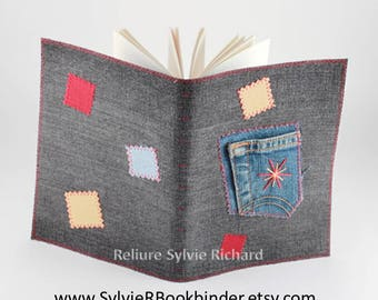 Recycled Jeans 's Notebook #9 - diary – blank book – travel journal – sketchbook, drawing, notes, calligraphy...  soft cover - bookbinding