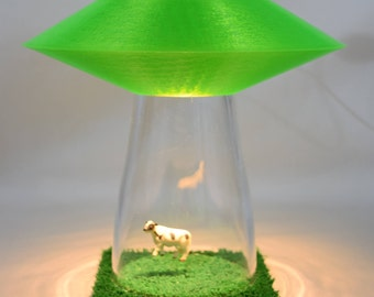 GREEN UFO Alien Abduction Desk Lamp Colored Lighting OPTION Cow Farm Sci Fi  Spaceship Outerspace Flying