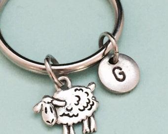 Sheep keychain, sheep charm, animal, personalized keychain, intial keychain, intial charm, customized keychain, monogram