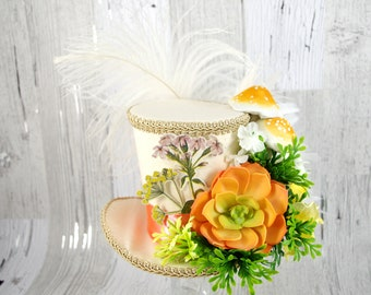 Beige, Coral, and Green Succulent and Mushroom Large Mini Top Hat Fascinator, Alice in Wonderland, Mad Hatter Tea Party, Derby Hat