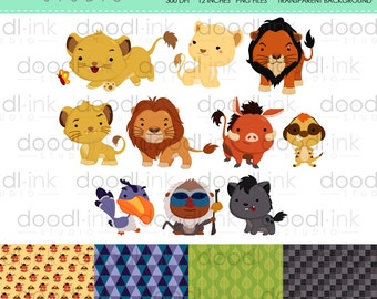 SALE 50% !!! Lion Family & Friends Digital Clipart / Cute Forest Animal Clip Art / Digital Paper For Personal Use / INSTANT DOWNLOAD