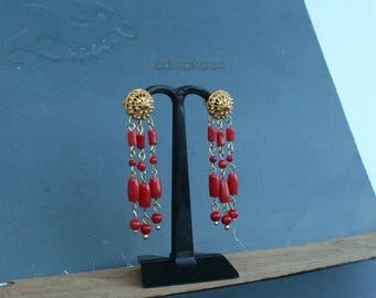 Solid 14k Gold Red Coral Chandelier Earrings, Dubrovnik Filigree Stud Earrings, Untreated Mediterranean Coral, Unique Gold Bridal Earrings