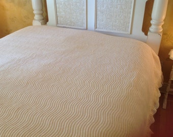 Vintage full chenille bedspread Butter yellow chenille bedspread Vintage bed cover  Cottage chic decor Country cottage bedspread