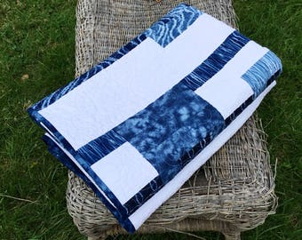 Batik Quilt For Sale Modern Geometric Blue Manly Masculine Quilt Handmade Large Lap Quilt Ready To Ship Quilted Contemporary Husband Gift