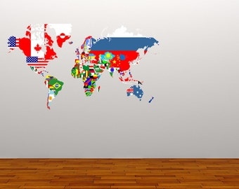 World map wall decal etsy full colour decal world map flags wall sticker globe office educational countries gumiabroncs Image collections