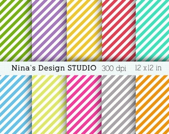 50% SALE INSTANT DOWNLOAD 10  diagonal stripes digital papers  for Personal and Commercial use