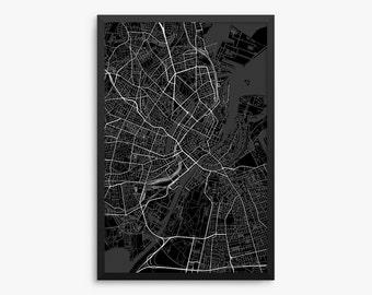 Copenhagen Street Map, Copenhagen Denmark, Modern Art Print, Copenhagen Gift, Copenhagen Decor, Denmark Decor, Office Decor, Home Decor
