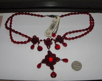 vintage RED CZECH GLASS beaded necklace 1980s  liz claiborne  gorgeous  ruby red