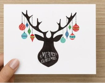 Christmas Cards. Personally designed deer with ornaments Christmas Card. Multiple pack sizes available!