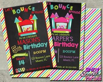 BOUNCE HOUSE INVITATION  - Jump House Invitation - Bounce House Birthday Invitation - Bouncey House Invite - bounce birthday invitations diy