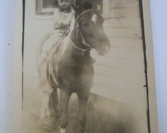 Boy and Pony Photograph Vintage Photography