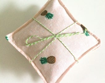 Lavender sachets, set of three, pink pineapple print with linen backing, satchet, gift under 15, lavendar sachet