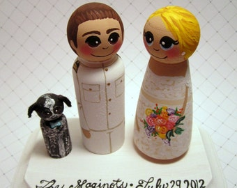 Wedding Cake Topper -Custom Painted Wood Peg Dolls -Couple Plus 1 small peg and Plaque - Armed Forces - Military