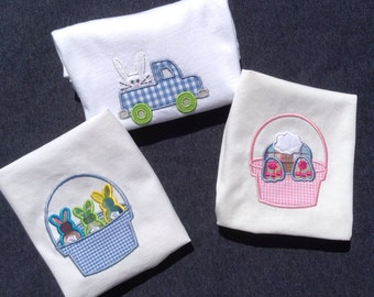 Boys Easter Tee Shirt, FREE SHIPPING in USA, twins, siblings, bunnies in a basket, blue gingham, shorts, pants, diaper cover, tee shirt