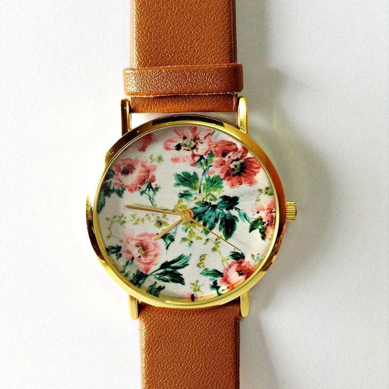 Floral watch vintage style leather watch women watches zoom gumiabroncs Gallery