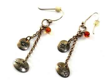 "Vintage ""Imagine"" Chain Drop Dangle Earrings Sterling Silver ER 618"