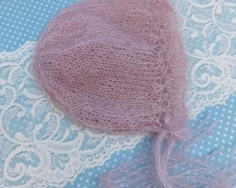 Baby bonnet- Pink baby bonnet -Christening bonnet -Photo prop bonnet -Knitted mohair bonnet