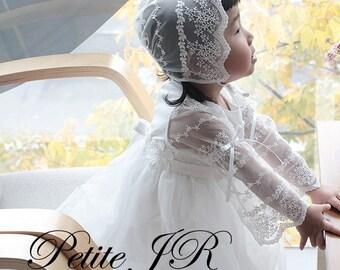 Set 16a-Baby Christening Dress(Bonnet+Longdress), Handmade, Baptism Dress, Party Dress, White Dress, Infant dress, Cotton Dress