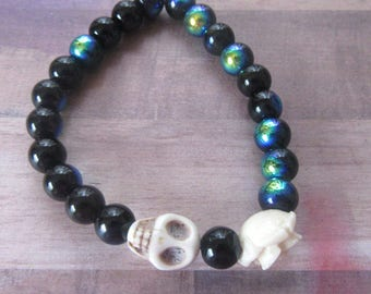 Sugar Skull with Rose Beaded Stretch Bracelet with Shimmer Black Glass Beads