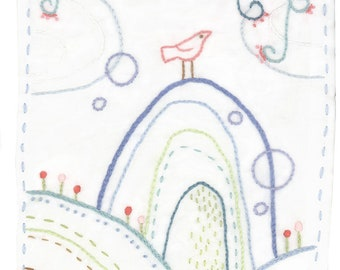 DIY Bird Hill Embroidery Pattern PDF download hand embroidery patterns designs