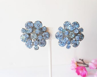 Blue Earrings, Vintage Earrings, Costume Jewelry, Clip-On Earrings, Blue Rhinestones,Cornflower Blue