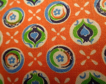 Vintage Woven Cotton Calico  NOS Orange Blue Green 2 Sections 1 Yard Each