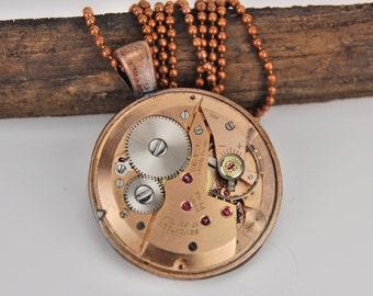 Copper steampunk necklace, Watch gear steampunk necklace, Mechanical necklaceStocking Stuffers
