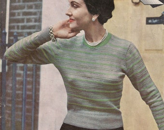 Original Vintage Knitting pattern - Wendywear - 1940s/1950s Ladies Knitting Pattern - Jumper - NOT A COPY.