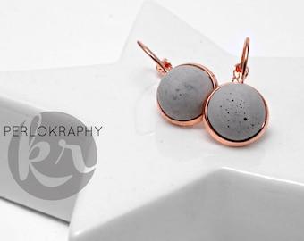 Earrings ~ concrete ~ rose gold