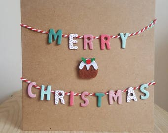 Bunting Merry Christmas greeting card