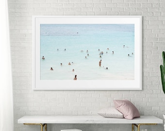 Large Oversize Art // Beach Photography // Aerial Beach Photography // Turquoise Teal Print // Mexico Beach // Beach People Oceanside Print