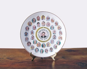 Vintage Presidents Plate Souvenir Dish with Nixon in Center