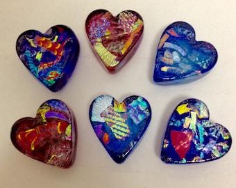Dichroic Glass Hearts