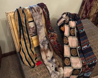 Six vintage long narrow scarves