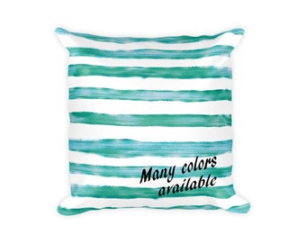 Watercolor Stripes 18x18 Throw Pillow Cover Couch Pillow Bed Pillow Dorm Pillow Decorative Throw Pillow