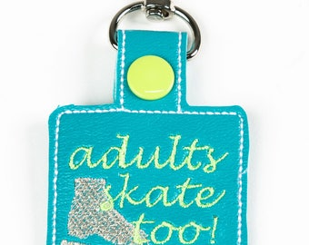 Adults Skate Too Square Snap Key Fob Key Chain, Embroidered Vinyl in Your Choice of 6 Colors with Snap, Skater Gift, Ice Skating Gift