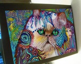 greeting card print of original art- Himalayan long hair cat  Zentangle